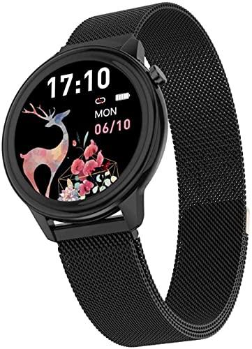 Exquisito reloj inteligente para mujer, multifuncional de monitoreo de la salud, pulsera deportiva impermeable, regalo de las señoras-negro