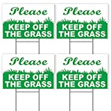4 Stay Off Grass Signs with Stake - Keep Off Grass Sign - Keep Dogs Off Sign - Please Keep Off Grass Sign - Dog Off Lawn - Keep Off Sign - 6'X9' Plastic Coroplast Signs with Stakes