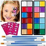 Lictin Pinturas Cara y Corporales-24 Colores + 50 Moldes + 6 Cepillos, Pintura Facial Corporales Seguro y Saludable Pintura Facial Lavable para Halloween