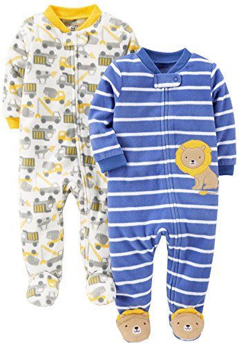 Simple Joys by Carter's Baby-Jungen 2-pack Fleece Footed Sleep and Play Schlafstrampler, Construction/Lion, Preemie (Frühchen)