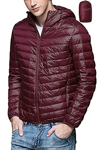 Ra&Do ダウンジャケット メンズ 軽量 防風 防寒 ダウン コート ライトダウン 収納袋付き R070 (XXXL, (帽)ワインレッド)