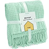 RECYCO Throw Blanket for Couch Aqua Waffle Throw Blanket Lightweight Soft Cozy Bed Decor Travel Blanket with Tassels for Living Room 50'x60'