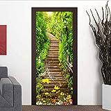 Prima Etiqueta De La Puerta 35.4'X78.7', Escaleras Autoadhesivas 3D De Bosque Verde, Pared De Papel Higiénico De Papel De Pared, Decoración para El Hogar De PVC