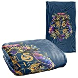 Harry Potter Hogwarts Multi-Colored Floral Crest Silky Touch Super Soft Throw Blanket 36' x 58',Hogwarts Multi-Colored Floral Crest