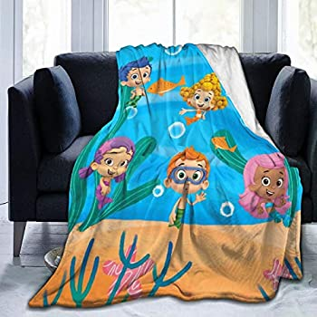 GIPHOJO Soft Micro Fleece Blanket Bubble Guppies Plush Throws Blanket for Children Kids Boys Girls for Bed Sofa Couch Chair Lightweight for All Season Gift 50 X40