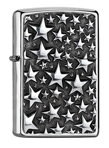 Zippo Stars Accendino a Benzina, Ottone, Acciaio Inox, 1x 6x 6cm