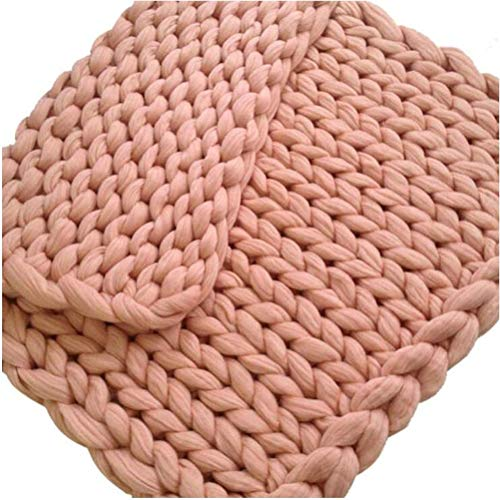 HLONGG Knitted Blanket Wool Yarn Arm Knit Throw Super Large Chunky Knit Blanket Pet Bed Chair Sofa Yoga Mat Rug 100 * 120cm,Rosa