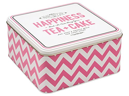 Alice Scott HAPPINESS TEA & CAKE Large Square Tin, Metal, Multi-Colour