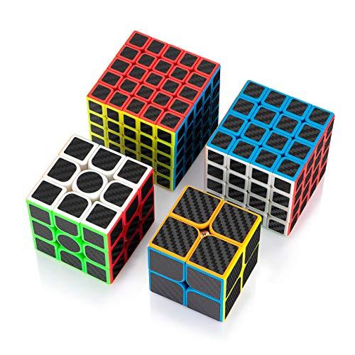 Findbetter 炭素繊維 競技用キューブ セット 2345階四点セット 炭素繊維ステッカー キューブ 2x2 3x3x3 4x4x4 5x5x5 カーボンファイバーシール 長持ち 知育玩具 回転スムーズ ポップ防止 世界基準配色 炭素繊維 2345階