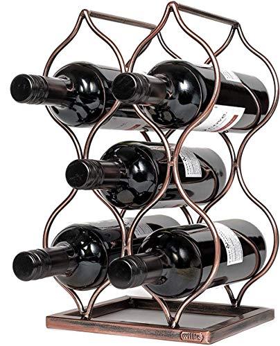 Pkfinrd Estante de Vino de Metal de Escritorio, Estante de Vino Separado y Botella de Vintage con 8 Botellas de Vino, Regalos y Accesorios de Vintage Amantes del Vino, Oro Rosa