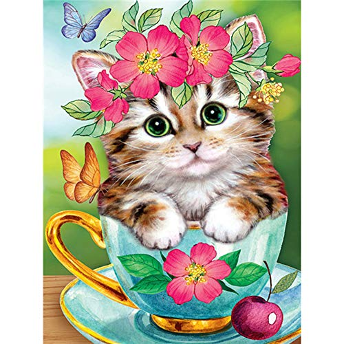 TheBigThumb DIY 5D Diamond Painting Kits DIY Diamond Tea Cup Cat Full Square Drill Mosaic Art Picture of Rhinestone