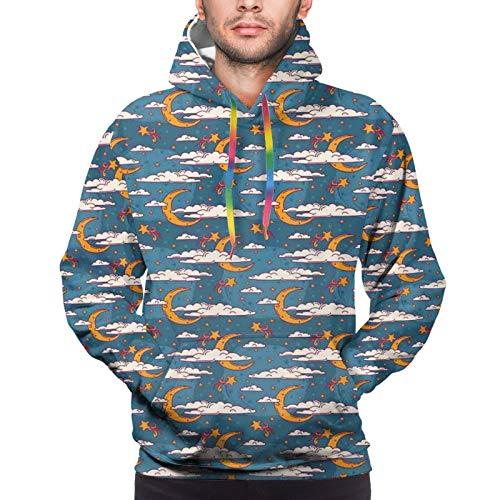 Men's Hoodies Sweatshirts,Cosmic Fairytale Cartoon Fantasy Pattern Children Constellation and Clouds Mystical,XX-Large