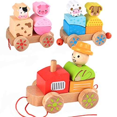 ZIWEIXING Wooden Rocking Farm Animals Pull Train Toy Baby Rock Baby Toys Gift for Toddler,Wooden Pull Toy,Pull Toy for Toddlers 18 Months,Pull-Along Basics Gift Set(Multicolor ) (Multicolor)