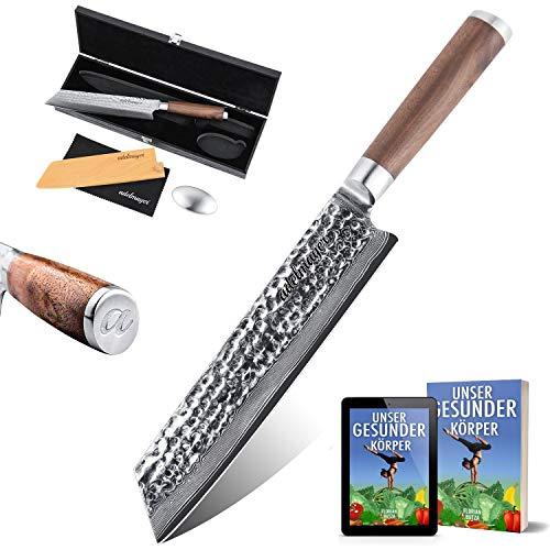 adelmayer® Profi Kiritsuke Damast Küchenmesser 21,2 cm extrem scharfe Klinge aus japanischem Damaststahl mit Walnussgriff und Wildledertuch