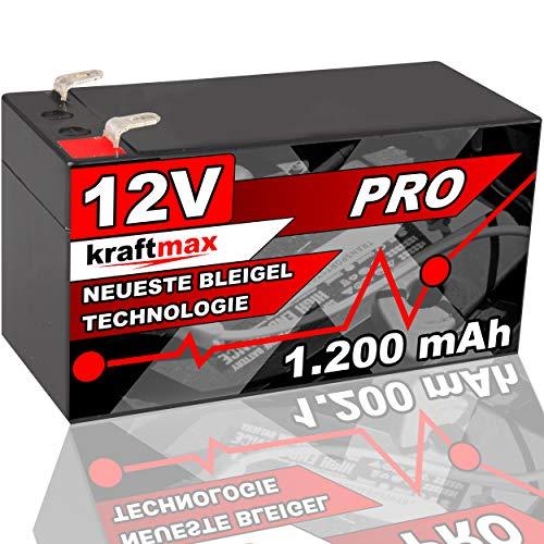 kraftmax Industrial Pro Bleiakku [ 12V / 1,2Ah ] AGM Hochleistungs- Blei Akku der Neusten Generation