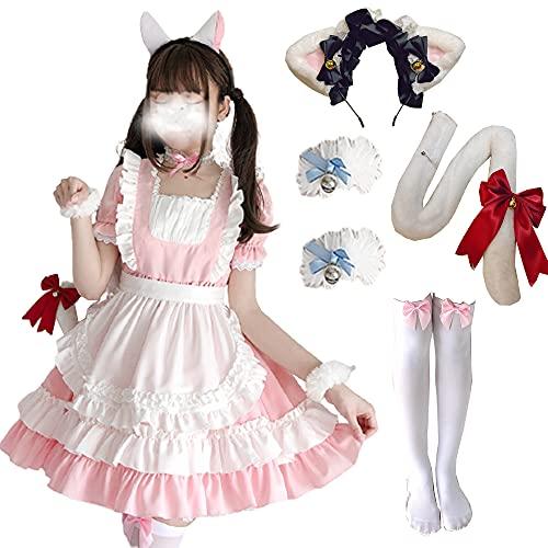 Delantal de sirvienta Francesa para Mujer, Vestido Elegante, Disfraz de sirvienta Cosplay de Lolita, 4/6/7/8 Piezas, Vestido Elegante de Cosplay de Anime para Fiesta de Halloween