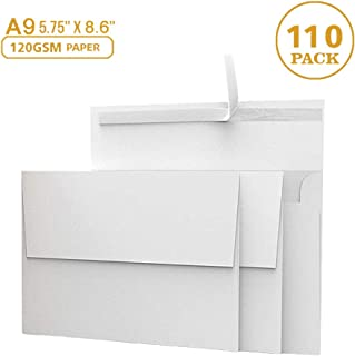 """110 5 ¾ x 8 ¾ White Invitation Envelopes - A9 - for Wedding Invites, Greeting Cards, Photo Storage Mailing - 5.75"""" x 8.75"""" - Can Hold 5.5 x 8.5 Paper - 120 GSM - Peel, Press & Self Seal - Square"""