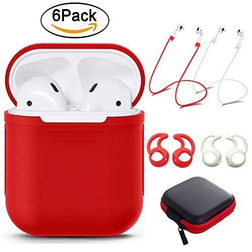 YUPING AirPods Case Silicone Protective Cover,2 Anti-Lost Strap,2 Pairs of Ear Hook,1 Headphone Case Compatible Apple AirPods (6PACK)-Red
