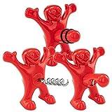 Sunshine smile 3 Stück Roter Mann Flaschenöffner,Weinflasche Stopper,Bierflasche Opener,Wein Falschenöffner,Stopper Set,Gag Geschenk Witziges Geschenk,flaschenöffner lustig für männer (rot)