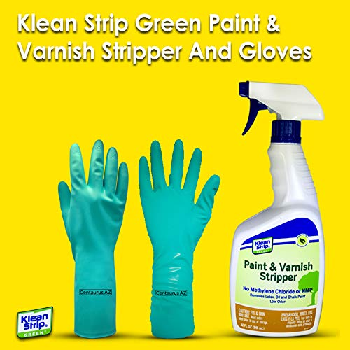 Klean Strip Green Paint & Varnish Stripper- Strips Layers of Latex Paints, Oil Based Paint, Lacquer, Wax & Stain from Wood, Metal & Masonry Surfaces- 32oz with Centaurus AZ Chemical Resistant Gloves