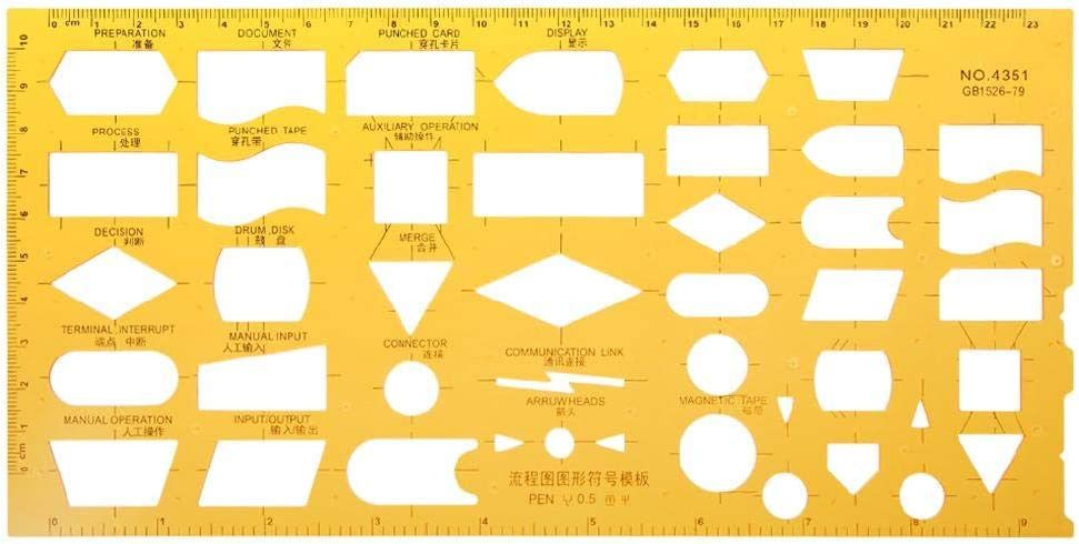 K Resin Flow Chart Symbol Sales Superior Template Stencil Ruler Drafting Measur