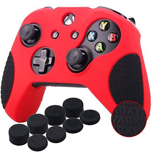 YoRHa Espesado Caucho de Silicona Funda Skin Case Carcasas Piel Agarre de Masaje con Letras 3D para Xbox One S/X Mando Controller x 1 (Rojo&Negro) con Agarres para el Pulgar x 8