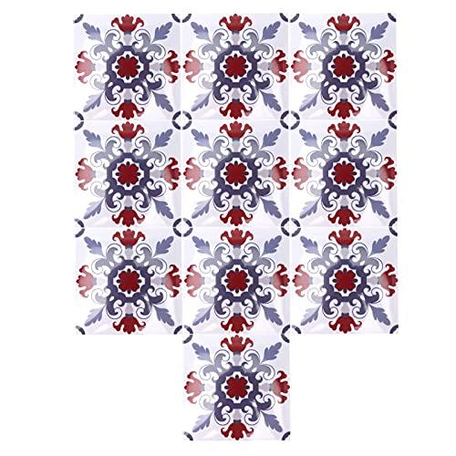 10 piezas pegatinas de azulejos PVC imitación de azulejos pegatina de pared antideslizante autoadhesivo hermético pegatina de azulejos para suelo de cocina baño hogar(BS67)