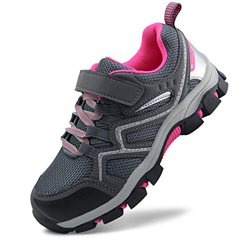 brooman Kids Outdoor Trail Hiking Shoes Boys Girls Running Shoes Sports Sneakers (1,Grey Pink)