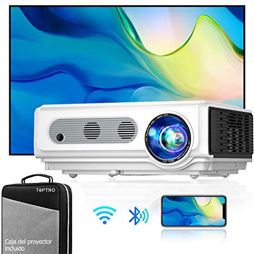 Proyector WiFi Bluetooth Full HD 1080P, TOPTRO 7500 Lúmenes Proyector 1080P Soporta 4K y Función de Zoom, Pantalla 300' Contraste 10000:1 Proyector LED Cine en Casa para iPhone,Android,PC,TV Box,PS5