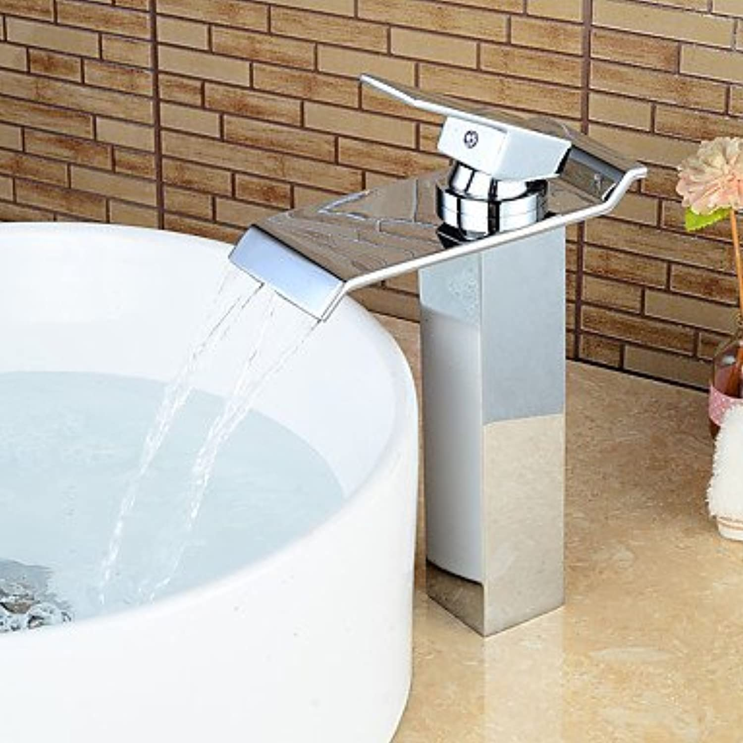 AA Faucet£? Raised chrome contemporary waterfall bathroom sink faucet