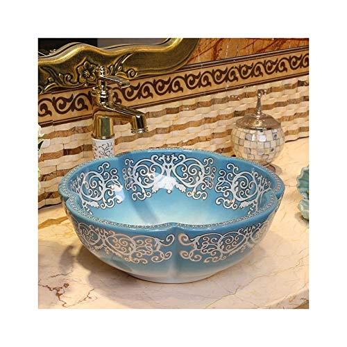 QULONG Supporti per lavabo/unità di vanità Lavabo da appoggio in Ceramica Artistica a Forma di Petalo Blu 16x6 Pollici per bagni, Guardaroba, Hotel, ristoranti Lavello da appoggio lavabo da appog