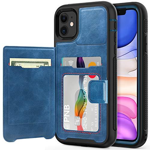 Timecity Funda para Apple iPhone 11 (6,1 Pulgadas 2019 Modelo),Cuero Protector de Alta Resistencia Cubierta con Tarjetero Funda para iPhone 11 Release 2019 - Azul