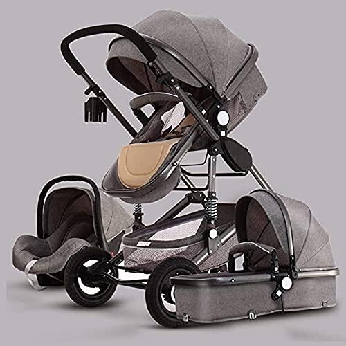 3 en 1 Vista alta Carruaje de bebé, paraguas Sistema de viaje para bebé plegable bebé, cochecito de cochecito compacto convertible, cochecito de cochecito, cesta de almacenamiento, área de asiento gra