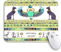 ROSECNY 可愛いマウスパッド 古代エジプトの猫とスカラベカブトムシの翼エジプト水彩滑り止めゴムバッキングマウスパッドノートブックコンピュータマウスマット