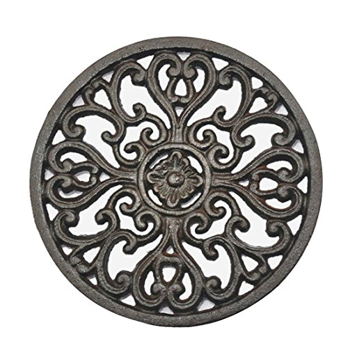 PER-HOME Round Vintage Pattern - 6.72' 6.72' Cast Iron Trivet With Rubber Pegs/Feet for Kitchen Counter Or Dining Table
