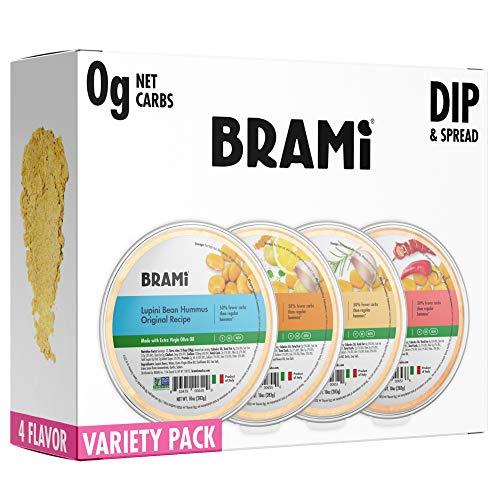 BRAMI Keto Lupini Bean Dip, Spread & Hummus | 0g Sugar, 0g Net Carbs | Keto, Vegan, Vegetarian, Mediterranean, Non-Perishable, Shelf-Stable, Low Carb, Low Calorie | 10oz (Variety, 4 Count)
