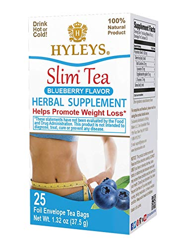 Hyleys Slim Tea Blueberry 25 Tea Bags (100% Natural, Sugar Free, Gluten Free and Non GMO)