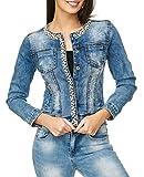 EGOMAXX Damen Jeans Jacke Perlen Strass Glitzer Steine Kurze Übergangsjacke D2259, Farben:Blau, Größe:42