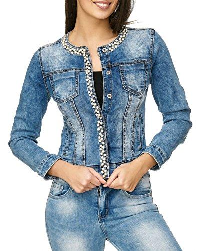ArizonaShopping Damen Jeans Jacke Perlen Strass Glitzer Steine Kurze Übergangsjacke D2259, Farben:Blau, Größe Damen:38 / M