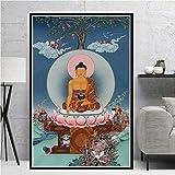 yaoxingfu Sin Marco Budismo Buda Estatua póster Mural Imagen póster e impresión Sala Pintura al óleo decoración del hogar 30x45 cm