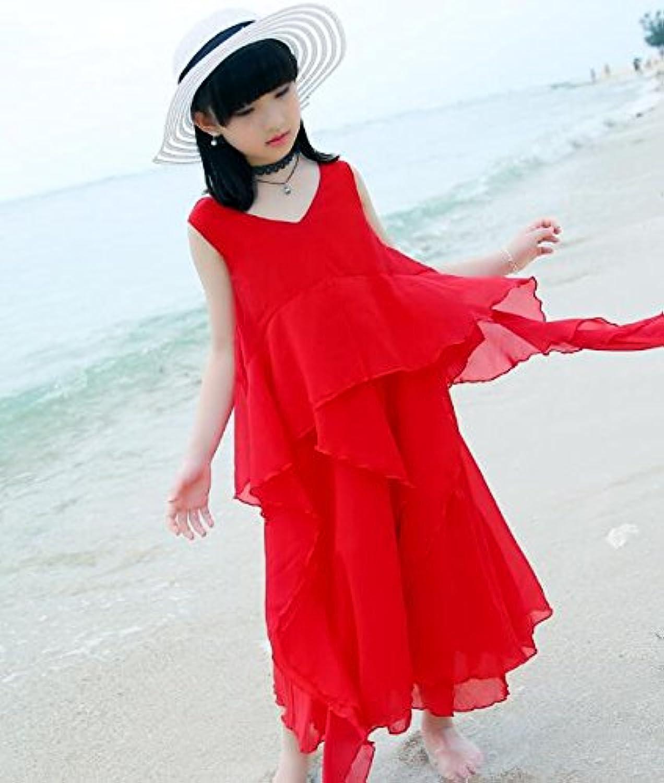 LuckyYumi 子供ドレス 女の子 ピアノ 発表会 パーディー 演奏会 フォーマル 入園式 結婚式 ワンピース (120cm, レッド)