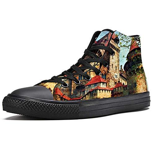 LORVIES Castillo de Austria, zapatillas altas de tela para hombre, (multicolor), 36 EU