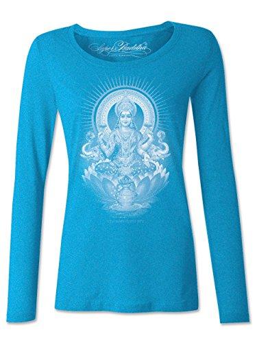 Super Buddha Women's'Lakshmi Prosperity' Long Sleeve Triblend Scoopneck, Turquoise, Medium