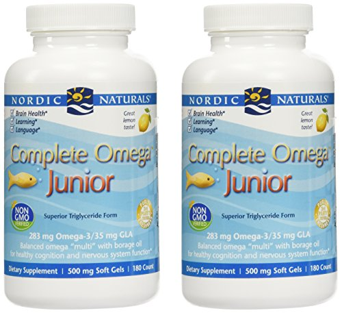 Nordic Naturals Complete Omega Jr, Lemon - 180 Mini Soft Gels - Pack of 2-283 mg Total Omega-3s & 35 mg GLA - Healthy Cognition, Nervous System Function - Non-GMO - 180 Total Servings