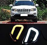 REAMIC Luce di Marcia Diurna A LED per La Progettazione della Luce Guida della Bussola Jeep con Indicatori di Direzione Gialli 2008-2015