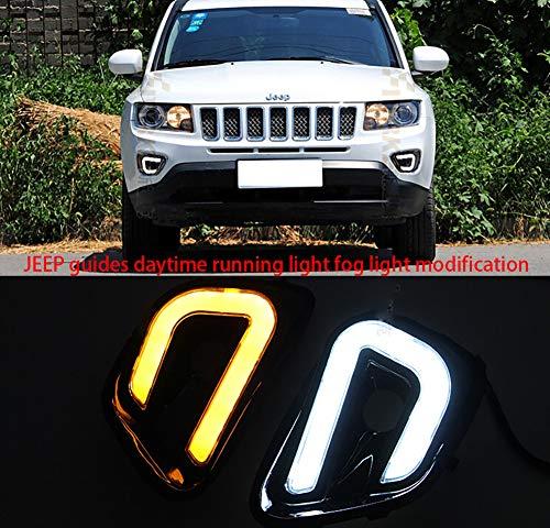 REAMIC Luz Diurna LED para DiseñO De Luz GuíA Jeep Compass con Intermitentes Amarillos 2008-2015