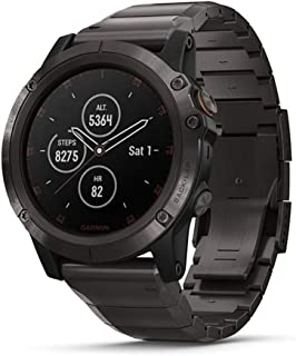 Garmin fenix 5X Plus, Ultimate Multisport GPS Smartwatch, Features Color TOPO Maps and Pulse Ox, Heart Rate Monitoring, Music and Garmin Pay, Gray w/Titanium Band