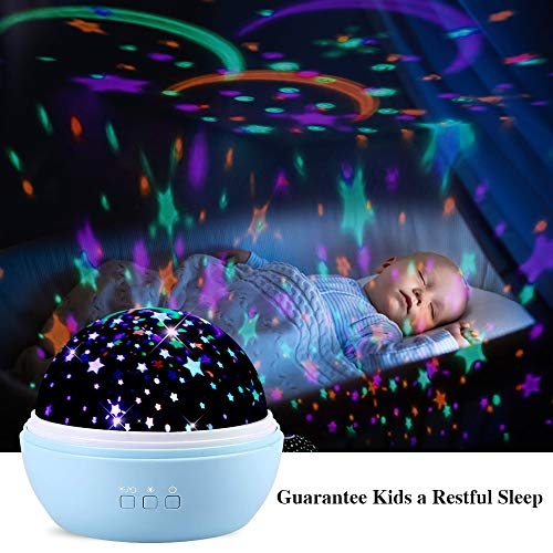 TekHome 2019 New Star Lights Projector for Kids, LED 360° Rotating Ocean Baby Night Light Projector, Toys for 3-12 Year Old Girls Boys, Best Birthday Gifts, 2 Themes, 8 Colours, 48 Effects, Blue.