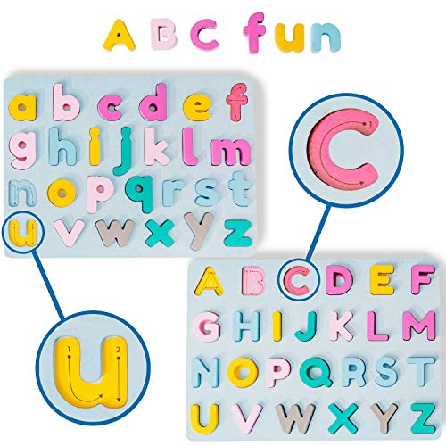 A2PLAY Alphabet Puzzle 2 Pack, ABC Learning for Toddlers, Small & Big Letter Boards for Ages 1, 2, 3 Year Olds, Chunky, Smooth Wooden ABC Letters Set, Bright Colors