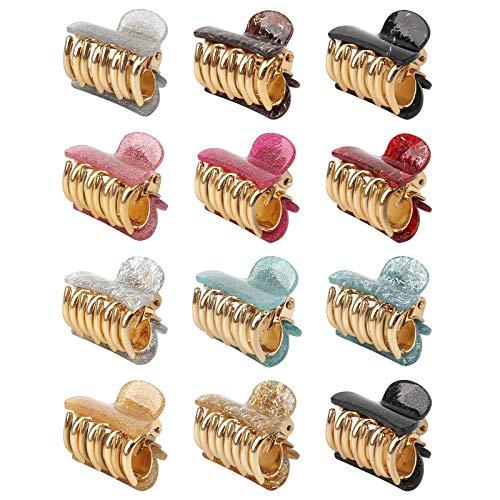 Yangfei 12 Stück Damen Haargreifer, Kunststoff Haar Klammern Klaue Clips Hair Claw Clips Bunte Haarklaue Klein Haarkrallen R utschfeste Haarklammern für Mädchen Frauen
